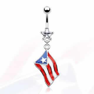 国旗へそピアス(プエルトリコ) 国旗へそピアス(プエルトリコ): ボディピアス/へそピアス・バナ