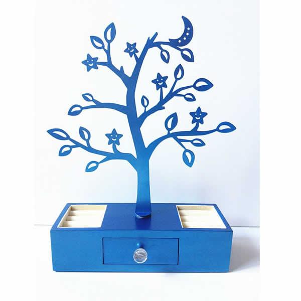 ピアス用ジュエリースタンド 収納ボックス付き/ブルー