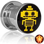 <グリーンピアッシング> フラッシュLEDライトトンネル(ロボット) 0G〜20mm
