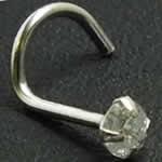 <グリーンピアッシング> ダイアモンド(SI/3.0mm)K14WGスクリュー鼻ピアス画像