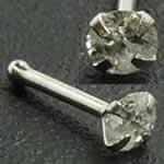 <グリーンピアッシング> ダイヤモンド(SI/3.0mm)K14WG鼻ピアス画像