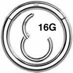 <グリーンピアッシング> 14金ホワイトゴールド セグメントクリッカー 16G