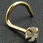 <グリーンピアッシング> ダイアモンド(SI/3.0mm)K14YGスクリュー鼻ピアス画像