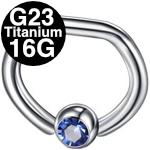 G23チタンD型ビーズリング ボディピアス 16G