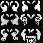 ホワイトトライバル樹脂バーベル ボディピアス 16G