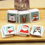 切手風クリスマスペーパータグ /5枚セット