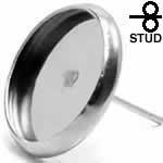 ステンレスピアス 金具 ミール皿/14mm シルバーカラー