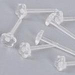 透明 フラワー 樹脂ピアスポスト /10個セット