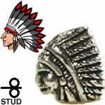 インディアンの横顔 シルバー925 スタッドピアス