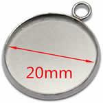 20mm用ミール皿ステンレスペンダント(丸冠平行)